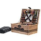 Buckingham 4 Person Luxury Wicker Cesta de la cesta de picnic y verde Tradicional manta de picnic de tela polar impermeable con construido en el compartimiento de enfriador y accesorios - Ideas de regalos para cumpleaños, bodas, aniversario y empresas