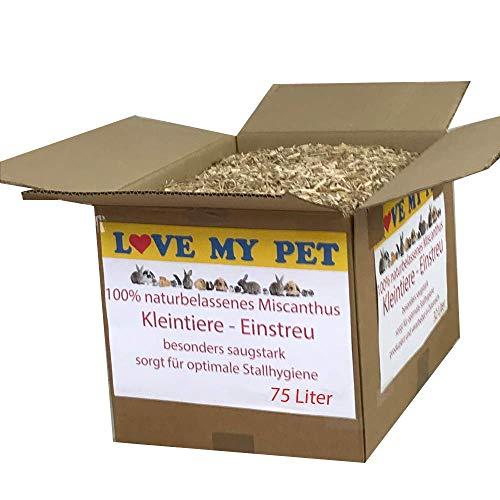 Love my Pet - Einstreu für Kleintiere, Miscanto; Elefantengras; Chinagras Häcksel, praktische und günstige Alternative zu Stroh, beste Hygieneeigenschaften - extrem saugfähig, 75 Liter 9,5 kg (Medium)