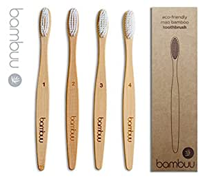 Bamboo Toothbrush [Family Pack of 4-Numbered] - Eco Friendly Wooden Toothbrushes |100% Biodegradable | Medium Soft Bristles | Natural Organic | Plastic and BPA Free | Vegan -by Bambuu