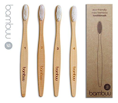 Cepillo de dientes de bambú (paquete de 4 unidades, respetuoso con el medio ambiente, de madera, 100{afcdefafd936aaee27d8697b9284737dae93a52a60dc1ec27d2a2bb3075f0a1a} biodegradable, cerdas suaves, tamaño mediano, de plástico orgánico natural y sin BPA, bambú)