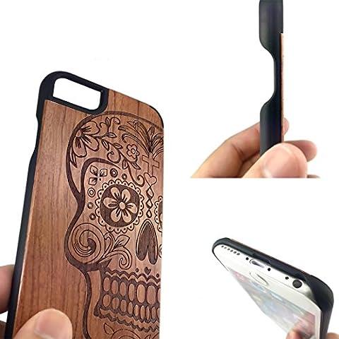 iPhone 6 Custodia,Sumgar®Genuina Handmade Legno Naturale e PC Hard Case Mobile Cover Custodia Protettiva per (Genuino Nero Piastra)