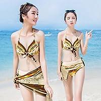 ZHANGYONG*Modèle Maillot 3 pièces bikini acier et de petites particules de hot spring maillot de bain poitrine ,XL, rouge