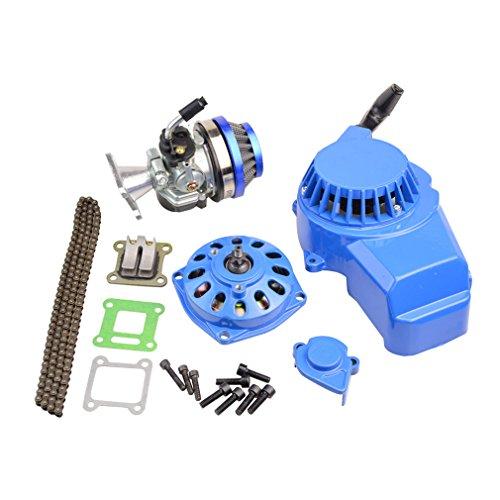 GOOFIT blau Aluminium Starter Starterpedale Vergaser Luftfilter 7 Zähne Getriebe Kupplung Trommel Zylinder Kit Zündsatz für 47cc 49cc 2 Takt Motor Pocketbike Atv Quad Motocross