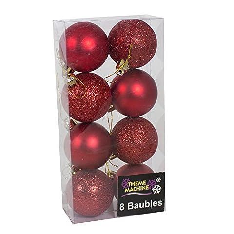 8 Matte & Glitzer Weihnachtsbaum Kugeln Party Ornament Geschenk Wand Fenster hängende Dekoration 50mm - rot