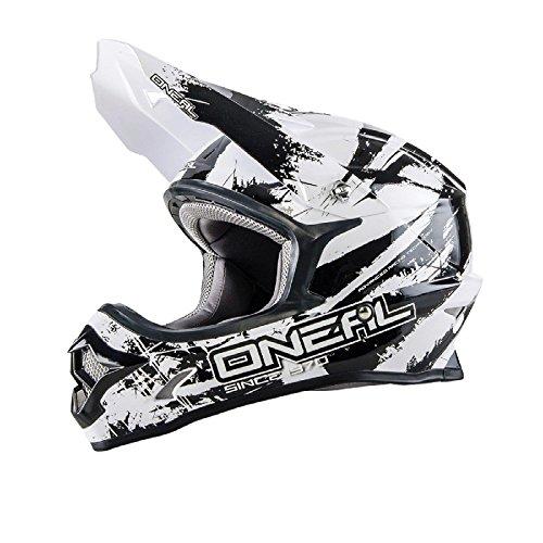 O'Neal 3Series SHOCKER MX Helm Schwarz Weiß Motocross Cross Enduro Offroad Motorrad Quad, 0623S-8, Größe Medium (57 - 58 cm)