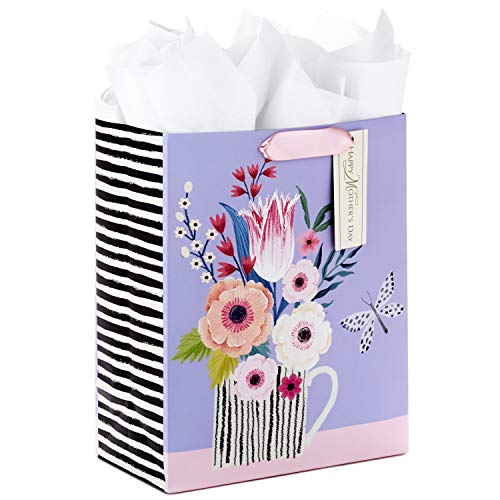 Hallmark 5WDB1113 Mother\'s Day Large Gift Bag with Tissue Paper (Floral in Cup) Geschenktasche Papier violett