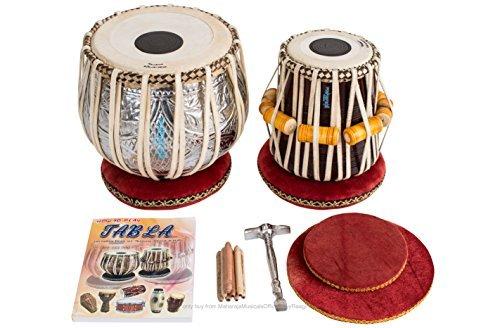 Tabla Drum Set, Maharaja Musicals Designer Tabla Drum, 4½ Kg Copper Bayan, Finest Dayan with Padded Bag, Book, Hammer, Cushions & Cover (PDI-FI)