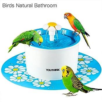 Automatique Fontaine pour Chat et Chien avec 3filtres 2fleurs Buse 1Tapis silicone animal distributeur d'eau gamelles sans BPA, 1.6L, bleu