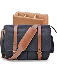 Camera Bag, GRM Vintage DSLR SLR Messenger Bag Canvas Leather Shockproof Camera Shoulder Bag Laptop Bag