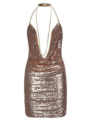 Futurino Femme Robe Paillettes à Strass Dos nu Décolleté V Robe Mini de Cocktail de Soirée gold