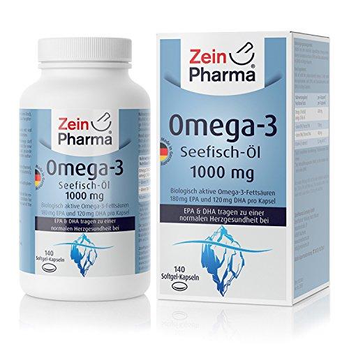 ZeinPharma Omega-3 Kapseln • 140 Softgel-Kapseln mit je 1000 mg Fischöl - davon 180 mg EPA & 120 mg DHA • mit wertvollen Fettsäuren und Vitamin E • Hergestellt in Deutschland