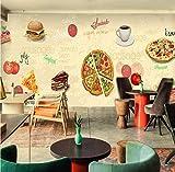 YUYINGXIANG Murale Tableau Noir Graffiti Murale Bar Café Toile de Fond Café Gâteau Hamburger Pain Dessert Papier Peint Murale,256cmx350cm