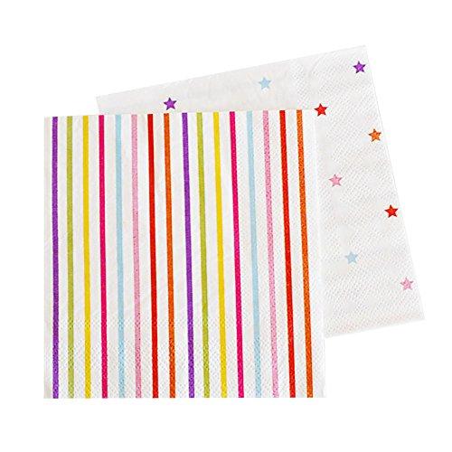 20 Schicke Papier-Servietten in Weiß mit Regenbogen-Bunten Sternen