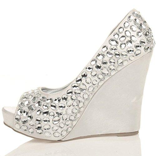 Damen Hochzeit Braut Strass Abend Edelsteine Hochkeilabsatz Sandalen Peep Toe Schuhe Größe Weiß