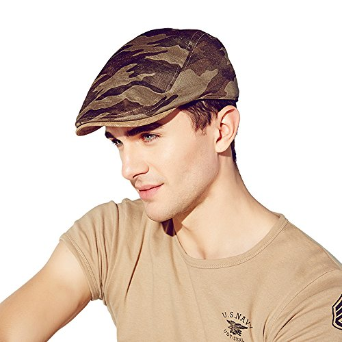 Kenmont été hommes homme gavroche chauffeur de taxi bouchon de lierre camouflage pic visière chapeau