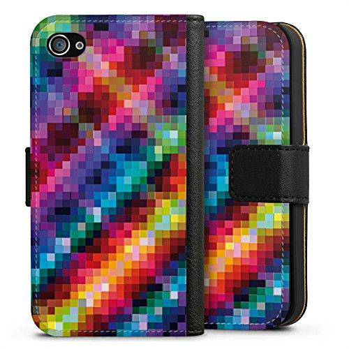 Apple iPhone X Silikon Hülle Case Schutzhülle Pixel Bunt Muster Sideflip Tasche schwarz
