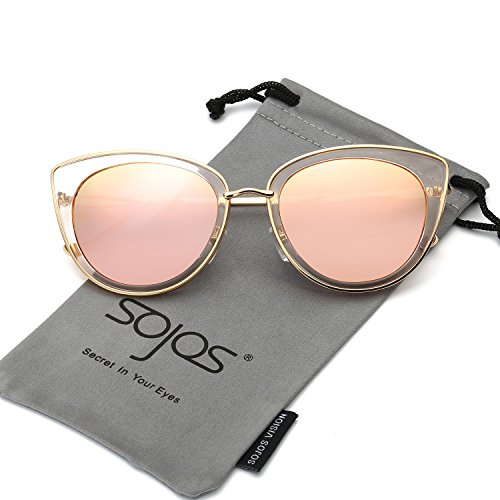 SojoS Cateye Damen Sonnebrille Fashion Womens Metal Frame Mirror Revo Lens Cat Eye Sunglasses SJ1002 With Gold Frame/Rosa Lens