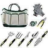 Ucharge 9pièces Outil de jardinage Ensemble Comprend un sac d'outils de jardinage, une paire de gants de travail, 6têtes de Lourdes en fonte d'aluminium avec poignées ergonomiques et d'une plante Corde