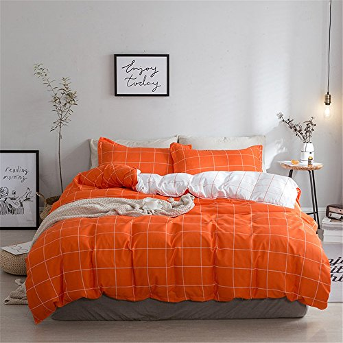 XiYunHan Nordische Minimalistische Plaid Gestreifte Polyester vierteilige Bettdecke, Twin, Full, Queen, King. (Color : Orange, Size : Twin) (Volle Größe-plaid Tagesdecke)