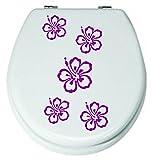 Angebot**Blumen Set 5 Stck.Lila Aufkleber 3-8cm WC-Sticker,Fenstersticker, Wandtattoo Bad Fliesen Blüten Farbe Deko (Die Farbe senden Sie in einer Nachricht über Amazon mit)