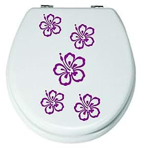Offerta * * Set 5pezzi, fiori.WC adesivi lilla 3–8cm, per WC-adesivi, adesivi, da bagno piastrelle fiori colore decorativo (colore inviare in un messaggio tramite Amazon con)