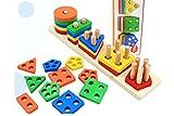 YCbingo Hölzerne pädagogische Vorschulkleinkind-Spielwaren für Jungen-Mädchen-Form-Farben-Anerkennungs-Geometrische Brett-Block-Stapel-Art-klumpige Puzzlespiele
