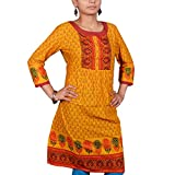 VGF 3/4 Sleeve Border Printed Cotton Kurti For Women-Large