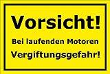Melis Folienwerkstatt Schild - Bei Laufenden Motoren Vergiftungsgefahr - 30x20cm | Stabile 3mm Starke PVC Hartschaumplatte – S00062-C +++ in 20 Varianten