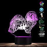 Bichon Frise Razza Canina 3D Illusione Ottica LED Luce Notturna Animali Negozio di Animali Decor Lampada Creativa con 7 luci Che cambiano Colore Regali di Compleanno di Natale