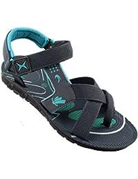 Claptrap Men's Grey & Green Sandals & Floaters
