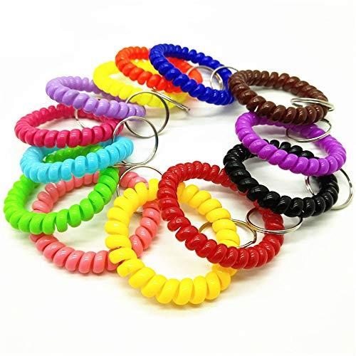 Sortierte Farbe dehnbar Kunststoff Armband Handgelenk Spule Handgelenk Band Schlüsselanhänger Kette Halter Tag (20PCS-7 Mischfarbe)