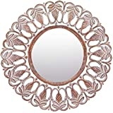 Meher Creation Brown & White Color Round Shape Wooden Hand Carved Wall Mirror/Makeup Mirror/Decorative Wall Mirror (Size :- 36 X 36 X 1 Inches)
