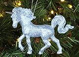 Christmas Concepts® Decorazione Unicorno ricoperta di Glitter 16 cm (Blu Ghiaccio, Pacchetto di 1)