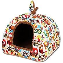 UEETEK Cueva para Perros Gatos Mascotas Desmontable Cama Gato Invierno Casa Cama Perro Suave Cálido Orejas