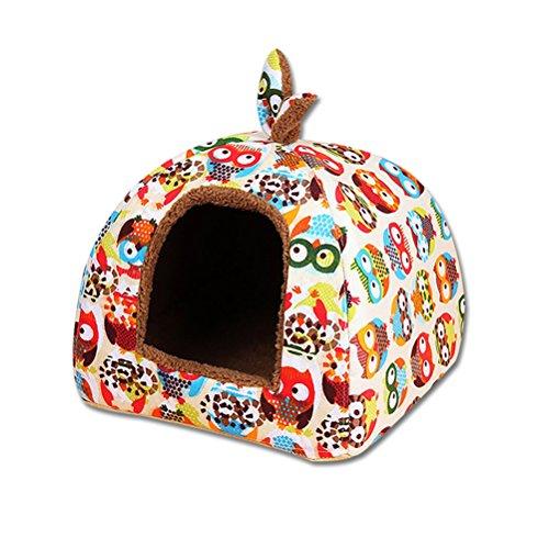 UEETEK Cueva para Perros Gatos Mascotas Desmontable Cama Gato Invierno Casa Cama Perro Suave Cálido Orejas de Conejo S