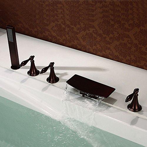 UHM 5pcs diffusi cascata vasca da bagno vasca romana rubinetto Olio Doccia sfregato il bronzo