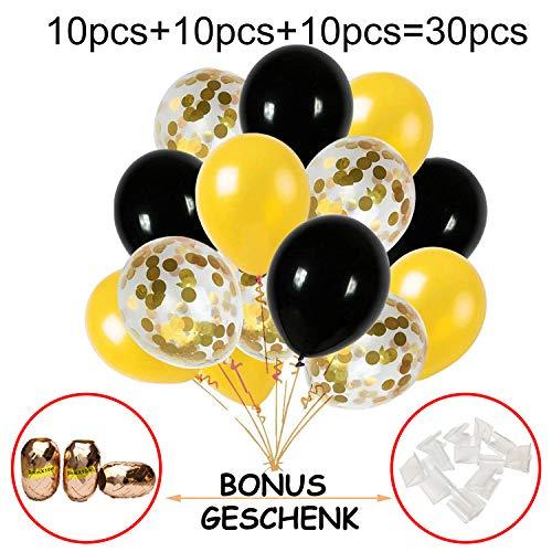 Hook 30 Stück Konfetti Luftballons Schwarz Gold Ballons, Latex Helium Luftballons Ø 30cm mit Goldene Folie Konfetti für Geburtstagsfeier Hochzeit Weihnachten Party und Festival Dekoration(12 Zoll) (Gold Und Schwarz Ballons)