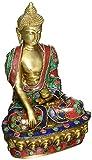 Exotic India Tibetano Budista deidad Buda en Bhumisparsha Mudra-Brass Estatua con Incrustaciones