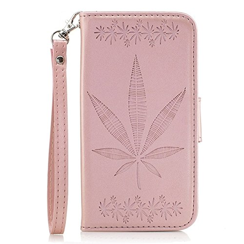 YHUISEN Galaxy J5 Prime Case, geprägte Ahornblatt Design PU Leder Flip Wallet Stand Case mit Card Slot für Samsung Galaxy J5 Prime / On5 2016 ( Color : Rose gold ) Rose gold