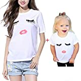 Search : Imixcity Family Matching Clothes Eyelashes Lips Emoji Short Sleeve T Shirts Tops Loose Tee Pour Women Kids