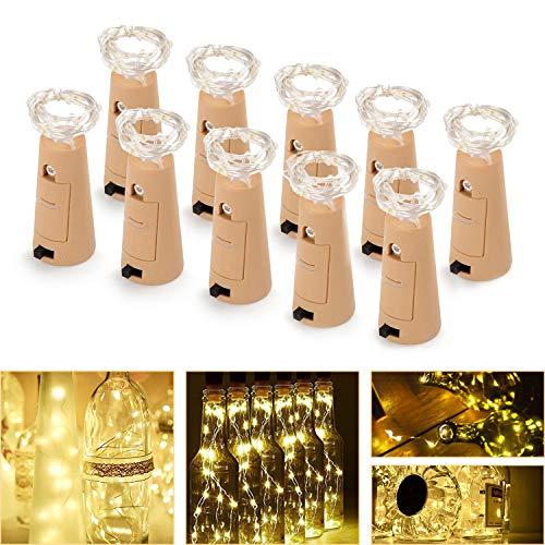 FYLINA Flaschen-Licht 10 Pack Micro Künstliche Kork Licht Weinflasche Flaschenlicht Kupferdraht Sternenlichterkette, Flaschenlichter für Schlafzimmer, Parteien, Hochzeit, Dekoration