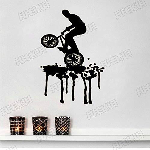 yaoxingfu Fahrrad Fähigkeit Athlet Wandaufkleber Für Wohnzimmer Hintergrund Kunst Decor Vinyl Wandtattoos Schlafzimmer Jungen Hobby Aufkleber schwarz 110X163 cm