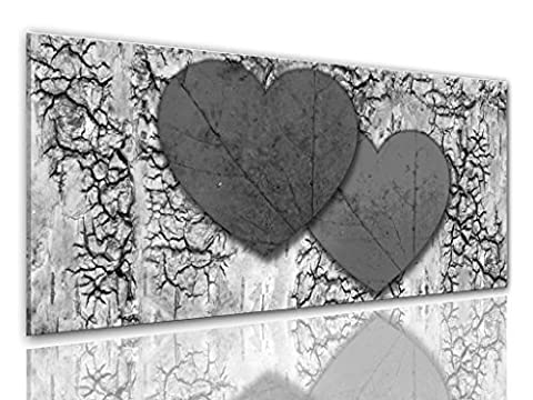 BILDER-MANUFAKTUR LEINWAND KUNSTDRUCK WANDBILD BILD BILDER, 8301 Farbe 4, 100 cm x 40 cm HERZEN HERZ LIEBE VALENTIN ROMANTIK LOVE HEART