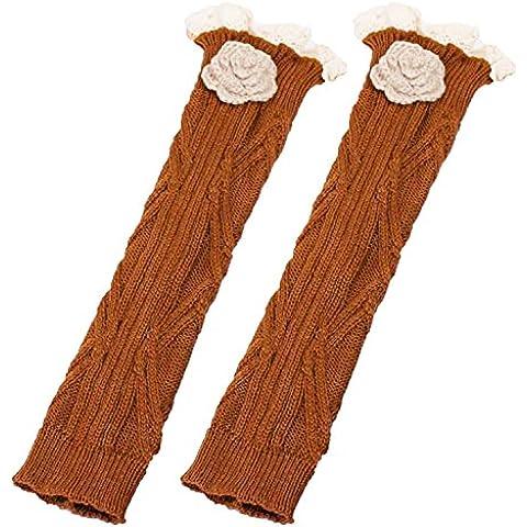 Un par de mujeres Fibras acrílicas Encaje floral de invierno Crochet pierna más caliente Puños Boot Cuffs Calcetines largos Toppers Marrón