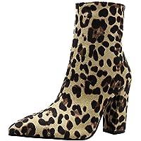 3cf7bac0fdad RBNB-bottes femme léopard Pointed Toe Automne d hiver Rétro Chaussures à  Talons Classiques