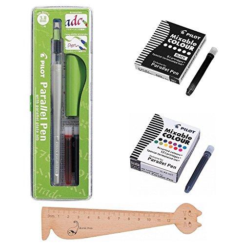 Set Pilot Parallel Pen 3,8mm + 1confezione da 12cartucce d' inchiostro colori assortiti + 1confezione 6cartucce nere + 1righello segnalibro in legno blumie