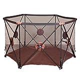 DNSJB Pop Up E Sicuro Easy Fold Box Portable Baby Play Yard, Centro di attività per Bambini Indoor E Outdoor Security Game Fence (Colore : Marrone)