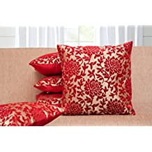 Belive-Me Velvet Flock Printed Cushion Covers - Set of 5 (Maroon and Red, 16x16 inches)