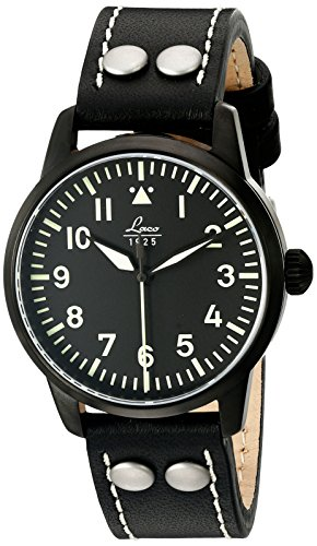 Laco 1925 Navy Men's Automatic Watch with Beige Dial Analogue Display and Brown Leather Strap 861651