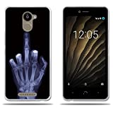 Custodia BQ Aquaris U Plus,FUBAODA[Medio Finger] Silicone trasparente TPU Fashion Creative Contemporaneo Chic Design Slim Fit Shockproof flessibile protezione completa anti shock per BQ Aquaris U Plus